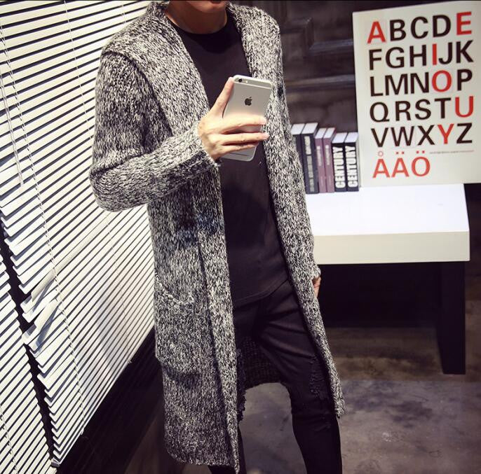 light gray / LAutumn Winter Loose Long Mens Cardigans Sweaters New Fashion Big Size Jumpers Mens Hooded Sueter Knit Sweater Jersey