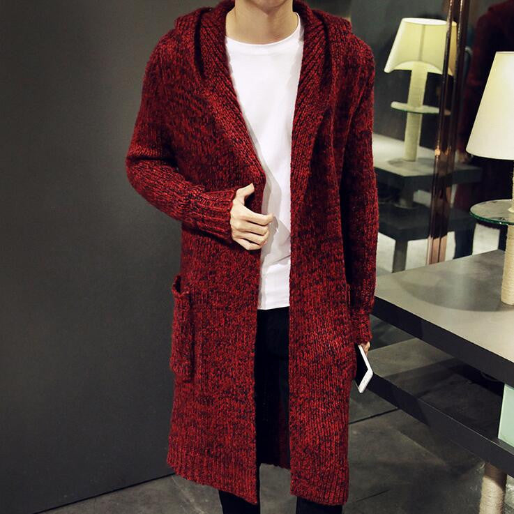 wine red / LAutumn Winter Loose Long Mens Cardigans Sweaters New Fashion Big Size Jumpers Mens Hooded Sueter Knit Sweater Jersey