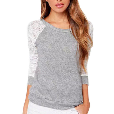 Women Hoody Summer Spring Autumn Fashion Lace Patchwork Hoodies Backless Shirt Tops Casual Sweatshirts Mujer Camisas Femininas-Dollar Bargains Online Shopping Australia