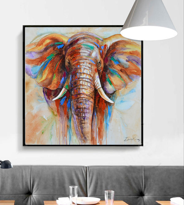 4ad224154559f Wildlife Colorful Elephant Picture Canvas Print Plus 50% Oil Painting Home  Decor Picture For Bedroom