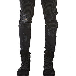 represent clothing designer pants slp blue/black destroyed mens slim denim straight biker skinny jeans men ripped jeans 28-38 - Dollar Bargains - 2