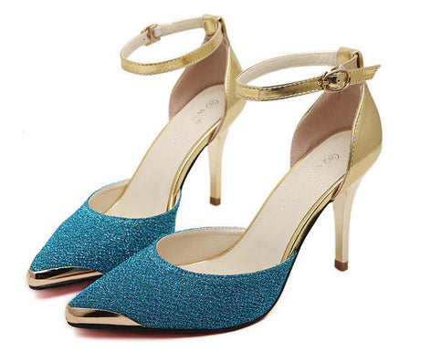 Red bottom High Heels Women Pumps Glitter High Heel Shoes Woman Sexy Wedding Party Shoes Gold Silver Blue-Dollar Bargains Online Shopping Australia