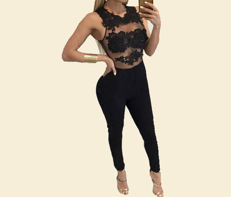 Women Bodycon jumpsuit Black Lace Bodysuit Female Transparent Mesh Embroidery Rompers Flower Jumpsuit-Dollar Bargains Online Shopping Australia