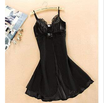 M-XL Women Sexy Silk Lace Nightgowns Chiffon V-Neck Spaghetti Straps Summer Sleepwear 8 Colors-Dollar Bargains Online Shopping Australia
