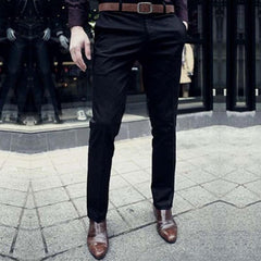 Casual Suit Pants Slim Fit trousers Cotton Pure Color Straight Type Long Pants Medium Waist western-style trousers-Dollar Bargains Online Shopping Australia