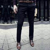 2016 Casual Suit Pants Slim Fit trousers Cotton Pure Color Straight Type Long Pants Medium Waist western-style trousers - Dollar Bargains - 1