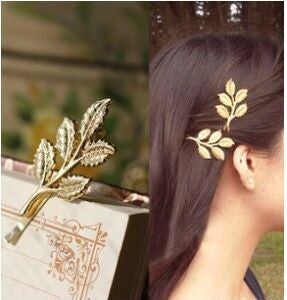 Fashion Lovely Leaves Golden Metal Punk Hairpin Hair pins Hair Clips  4JWD28 - Dollar Bargains