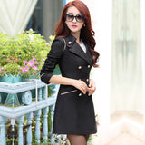 Spring Autumn Trench Coat Fashion Turn Down Collar Trench Coat Women Color Long Slim Double Breasted Coats A0210-Dollar Bargains Online Shopping Australia