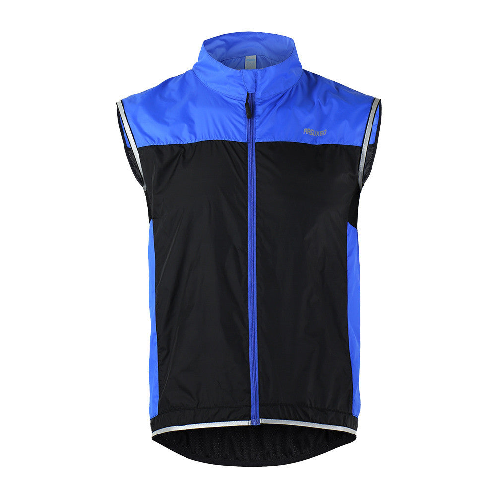 Blue / XXLMen Ultrathin Lightweight Bicycle Vest Windcoat Breathable Bike Sleeveless Vest Cycling Sportswear
