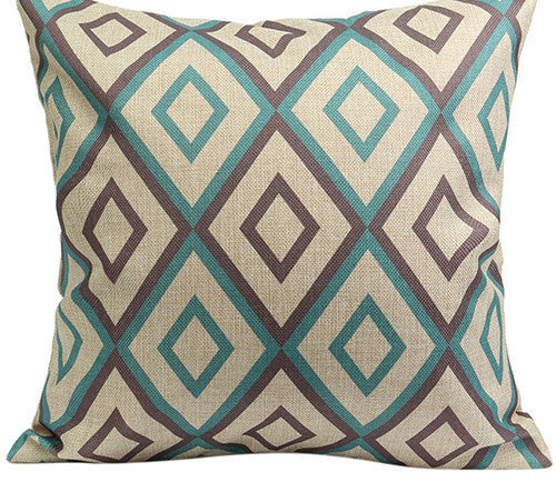 1Vintage Geometric Flower Cotton Linen Throw Pillow Case Cushion Cover Home A6UL