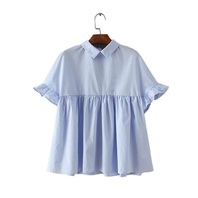 women elegant butterfly sleeve loose pleated cute shirts pleated blue back bow short sleeve blouse summer casual tops DT729-Dollar Bargains Online Shopping Australia