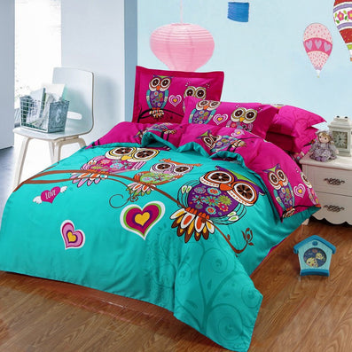 Adult Kids Owl Bedding Set Blue Boys Girls Quilt Duvet