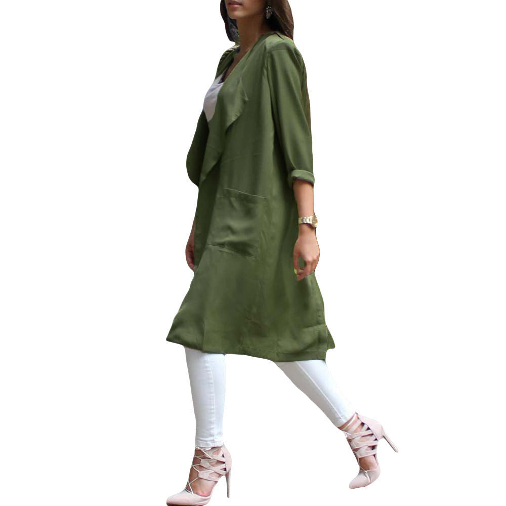 Fashion Chiffon Cardigan Trench Coat for Women Waterfall Open Front Pocket Long Sleeve Thin Coat Blouse Manteau Femme Green - Dollar Bargains