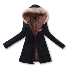 New Autumn Winter Women Jacket Cotton Padded Casual Slim Coat Emboridery Hooded Parkas Plus Size 3xl Wadded Overcoat-Dollar Bargains Online Shopping Australia