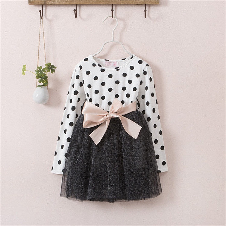 A0218B / 4TNew Winter Dress For Girl Long Sleeve Bow-Knot Princess Girls Dresses Polka Dot Print Kids Clothes Casual Baby Clothing