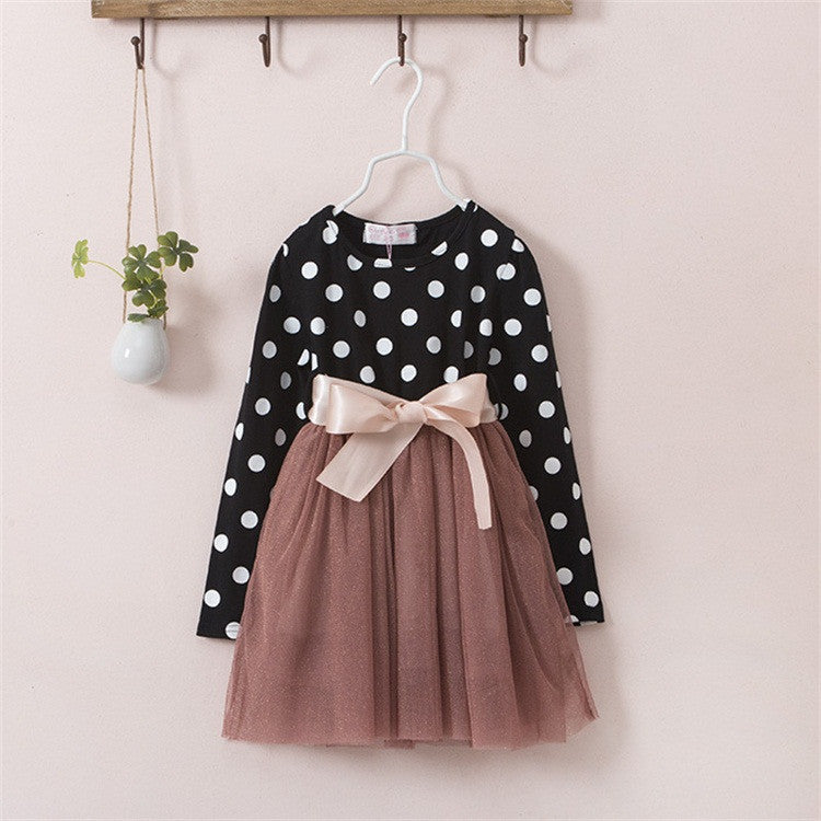 A0218HI / 6New Winter Dress For Girl Long Sleeve Bow-Knot Princess Girls Dresses Polka Dot Print Kids Clothes Casual Baby Clothing