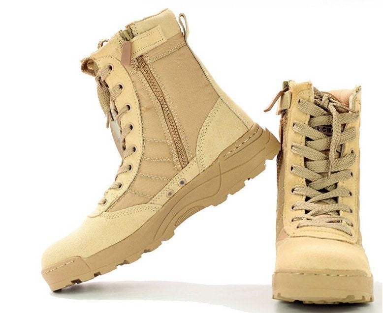 Beige high / 6Delta Tactical Boots Military Desert SWAT American Combat Boots Outdoor Shoes Breathable Wearable Boots Hiking EUR size 39-45