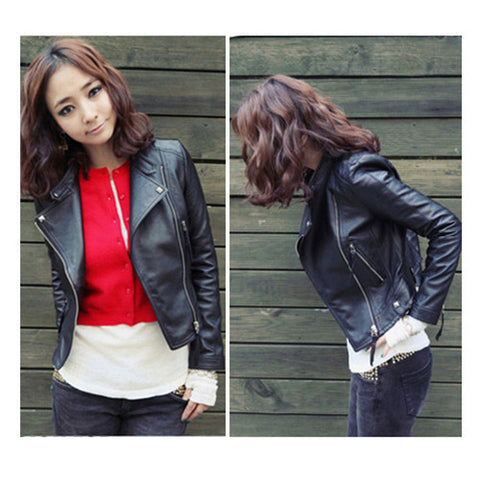 New Arrival 2016 Autum & Winter Women Motorcycle Leather Jacket Slim Casual Coat - Dollar Bargains - 1