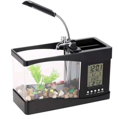Usb Mini Fish Tank Desktop Electronic Aquarium Mini Fish Tank with Water Running LED Pump Light Calendar Clock White Black-Dollar Bargains Online Shopping Australia