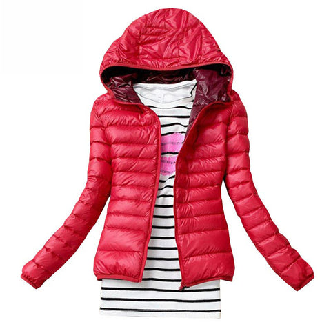 Winter Jacket Women Cotton Down Parka Hooded Women's Coat Casual Slim Down & Parkas Solid Basic Women's Jacket Long Sleeve Coat - Dollar Bargains - 1