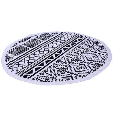 Microfiber Round Beach Towel 150cm Bath Towels Tassel Geometric Print Summer Women Sandy swimming Sunbath Baby Blanket covers up-Dollar Bargains Online Shopping Australia