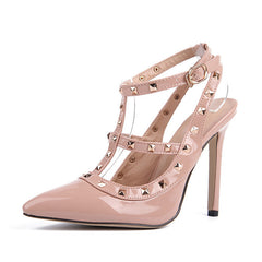 Plus Size High heels shoes woman Ladies Sexy Pointed Toe pumps Buckle rivets nude heels dress wedding shoes 11.5cm-Dollar Bargains Online Shopping Australia