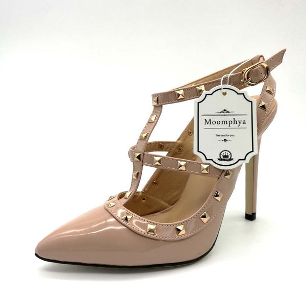 5b92b515a70e Plus Size High heels shoes woman Ladies Sexy Pointed Toe pumps Buckle  rivets nude heels dress