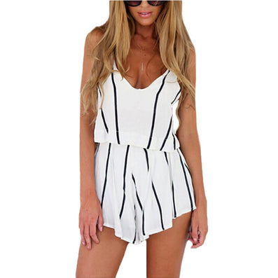 Summer 2 Piece Set Women Tops V Neck Strap Striped Chiffon Tee Shirt Boho Beachwear Sexy Tank Top Women Shorts-Dollar Bargains Online Shopping Australia