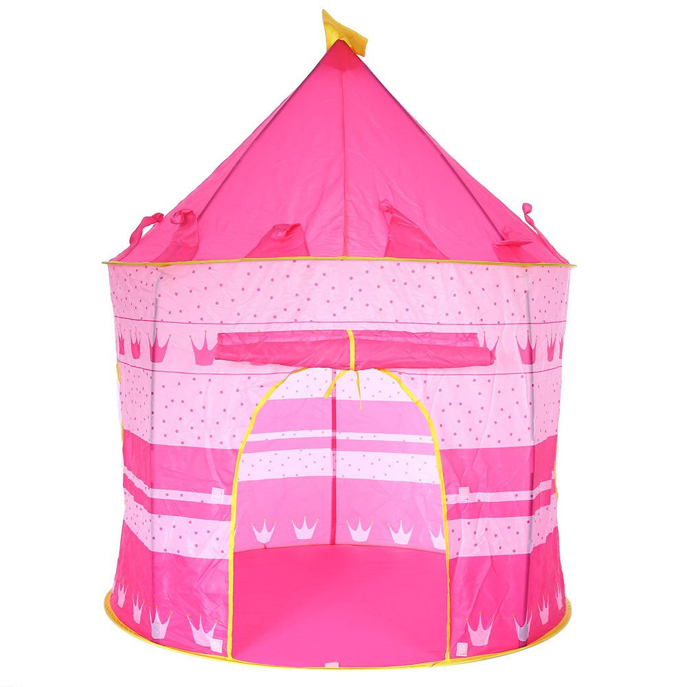 Red2 Colors Portable Foldable Play Tent Prince Folding Tent Kids Children Boy Castle Cubby Play House Kids Gifts Outdoor Toy Tents