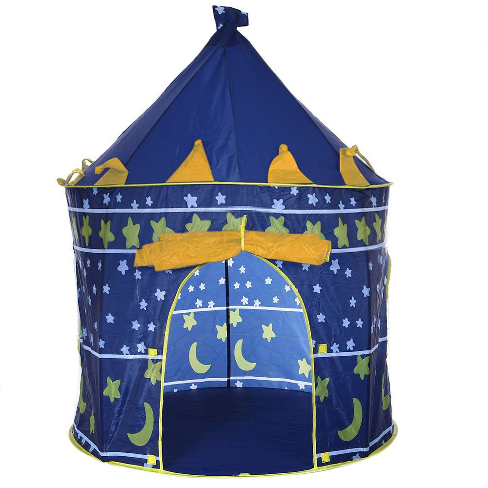 Blue2 Colors Portable Foldable Play Tent Prince Folding Tent Kids Children Boy Castle Cubby Play House Kids Gifts Outdoor Toy Tents