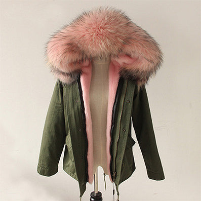 New Women Winter Army Green Jacket Coats Thick Parkas Plus Size Real Raccoon Fur Collar Hooded Outwear-Dollar Bargains Online Shopping Australia