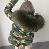 2016 New Women Winter Army Green Jacket Coats Thick Parkas Plus Size Real Raccoon Fur Collar Hooded Outwear 5 Day Delivery time - Dollar Bargains - 18