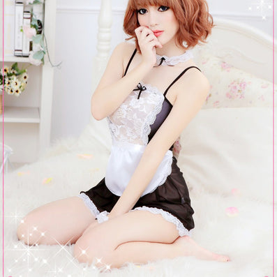 Sheer Lace Costume Cosplay French Maid Sexy Lingerie Outfit Fancy Dress-Dollar Bargains Online Shopping Australia