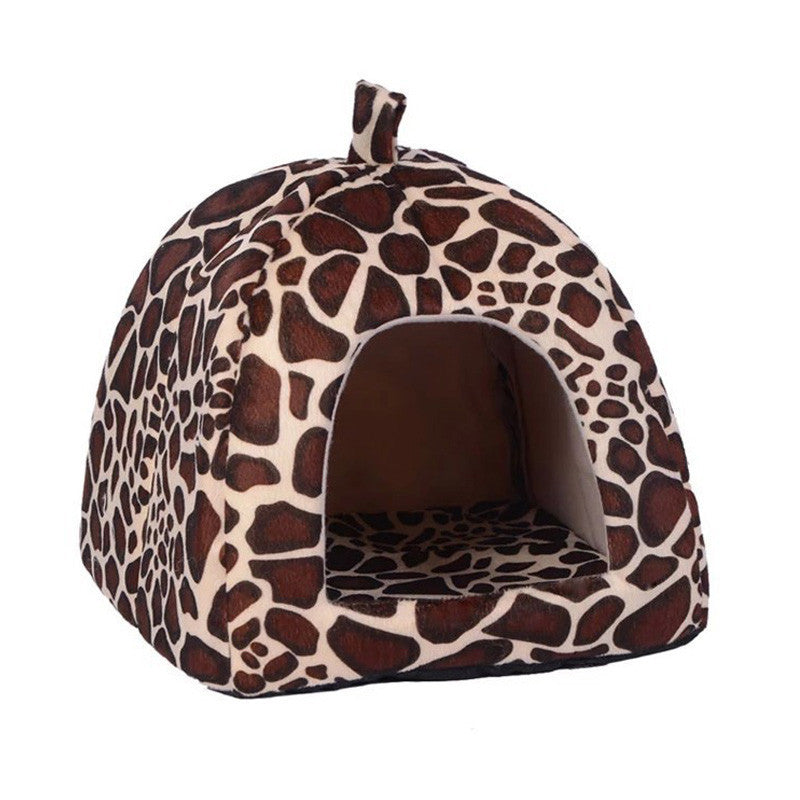 White / 36x36x38cmNew Pet House Foldable Soft Warm Leopard Print And Strawberry Cave Cat Dog Bed Cute Kennel Nest Dog Fleece Cat Tent Bed