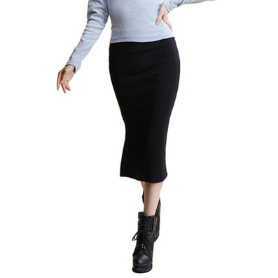 Summer Autumn Sexy Chic Pencil Skirts Office Mid Waist Mid-Calf Solid Skirt Casual Slim Hip Placketing Lady Skirts-Dollar Bargains Online Shopping Australia