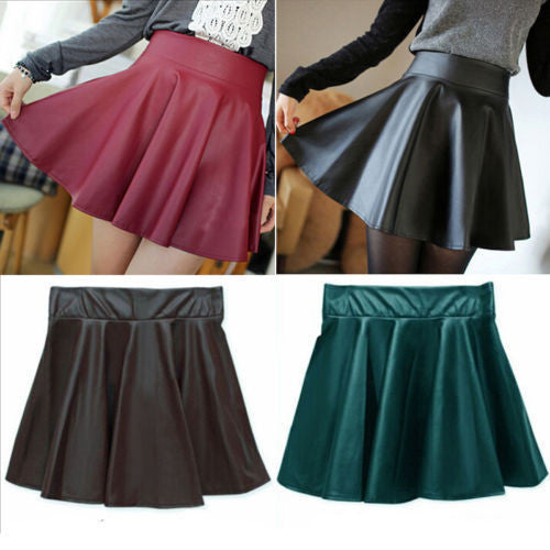 Black / XSNew Fashion Women's High Waist Pleated Short Mini Skirt Skater Flared Skirt