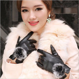1 Pair 2016 Beautiful Rabbit Fur Ball PU Leather Gloves For Winter Gloves Brand Mitten Luvas Women Gloves Female Gloves - Dollar Bargains - 1