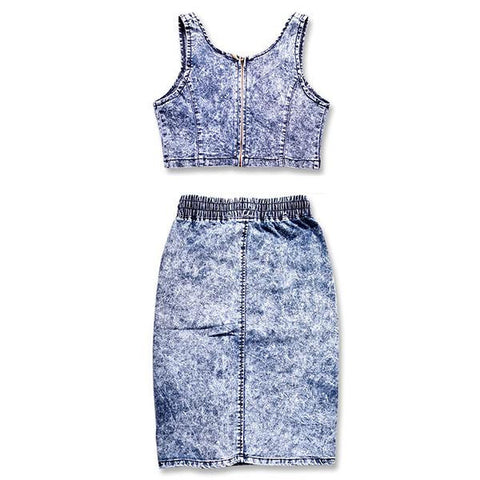LIENZY Sexy Denim Crops Tops And Skirt 2 Piece Set Deep V Neck High Waist Elastic Snowflakes Package Hip Corset Hollow-Out Set - Dollar Bargains - 2