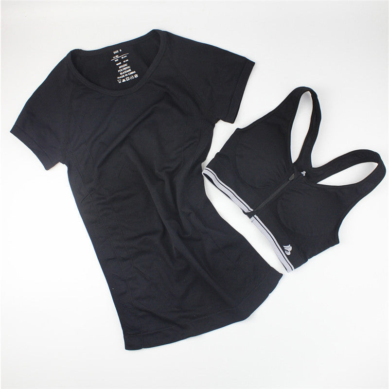 B.BANG New Women Casual T-shirt + Push Up Bra Sets Quick-Dry Fitness Tops Clothing for Female One Suit Free Shipping - Dollar Bargains - 3