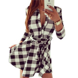 Leisure Vintage Dresses Autumn Fall Women Plaid Check Print Spring Casual Shirt Dress Mini Q0035-Dollar Bargains Online Shopping Australia