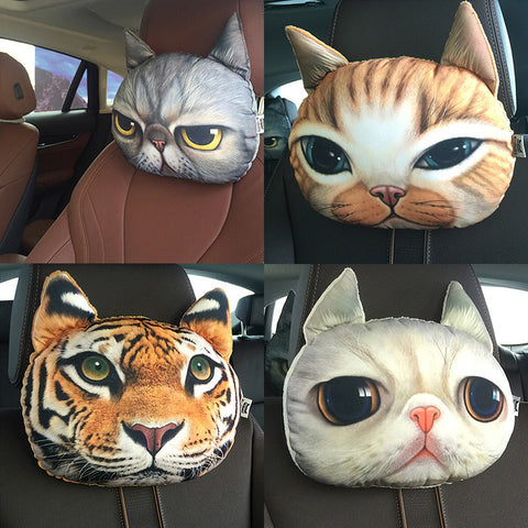 Lovely 3D Cat Car Headrest Head auto Pillow Inside Seat Neck Rest car seat Creative Car Neck Pillow Soft Auto Head Headrest-Dollar Bargains Online Shopping Australia