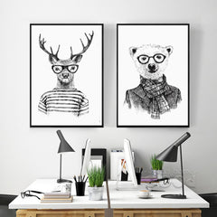 Hand draw Animals Canvas Art Print Poster, Deer And Polar Bear Set Wall Pictures for Home Decoration, Giclee Wall Decor DE009-Dollar Bargains Online Shopping Australia