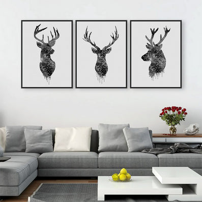 Triptych Watercolor Deer Head A4 Poster Print Abstract Animal Pictures  Canvas Painting No Frames Living Room