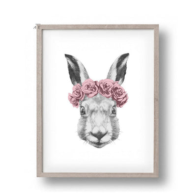 Rabbit Drawing with Rose Canvas Art Print Painting Poster, Wall Picture for Home Decoration, Wall Decor FA403-Dollar Bargains Online Shopping Australia