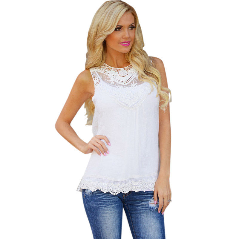 Feitong Women Summer Tops Tank Lace Hollow T Shirt 2016 Fashion Cotton Bend Sleeveless Casual Tops Tank blusa de renda feminino - Dollar Bargains - 4