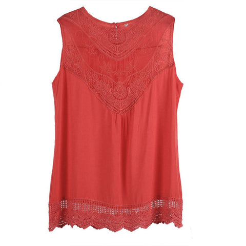 Feitong Women Summer Tops Tank Lace Hollow T Shirt 2016 Fashion Cotton Bend Sleeveless Casual Tops Tank blusa de renda feminino - Dollar Bargains - 5
