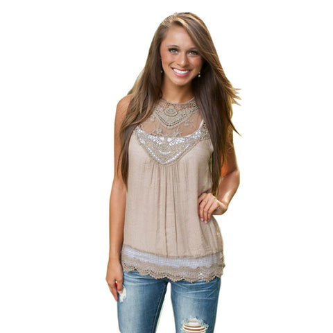 Feitong Women Summer Tops Tank Lace Hollow T Shirt 2016 Fashion Cotton Bend Sleeveless Casual Tops Tank blusa de renda feminino - Dollar Bargains - 2
