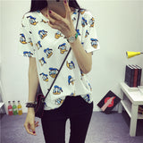 Women's Summer T-Shirt Clothes Shirt O-neck Polka Dotted Short Tops Bottoming Tops-Dollar Bargains Online Shopping Australia