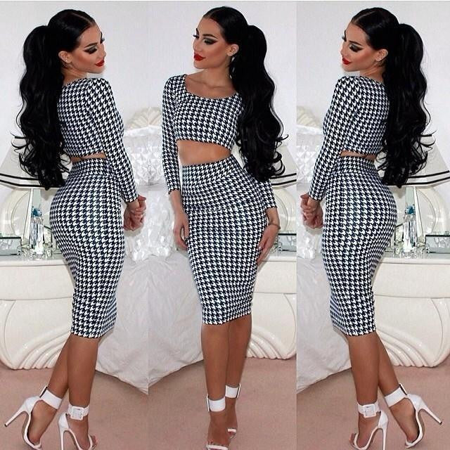 Gray / Ls Sexy Women Houndstooth Long Sleeve Tops 2pcs Set Midi Dress Bodycon Clubwear L34