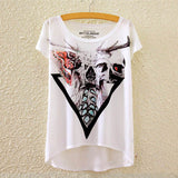 2016 Brand New Cotton cropped t Shirt Women Short Sleeve t-shirts o-neck Causal loose Magic Unicorn T Shirt Summer top for women - Dollar Bargains - 4